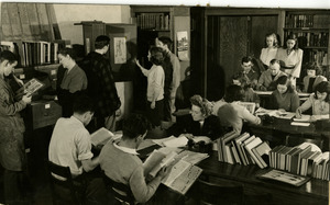 Students using the library