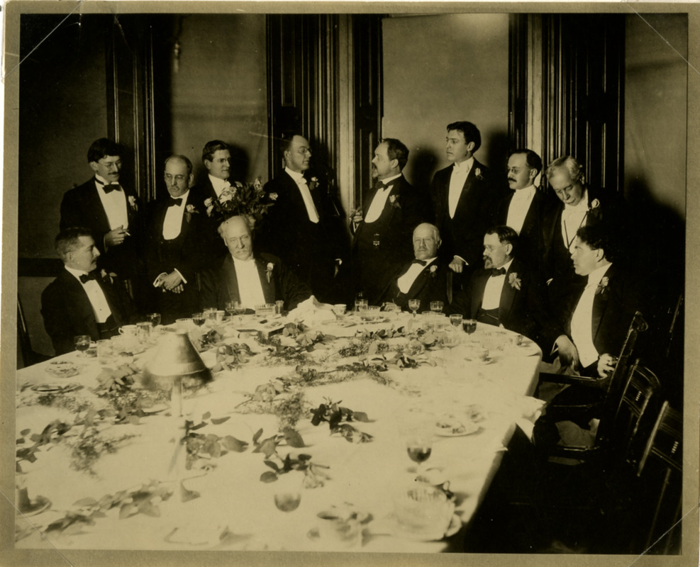 Faculty members at a dinner