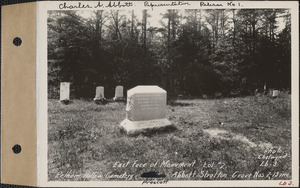 Abbott-Stratton, Pelham Hollow Cemetery, lot 2, grave nos. 7-13, East face of monument, Prescott, Mass., ca. 1928