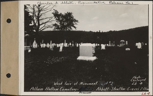 Abbott-Stratton, Pelham Hollow Cemetery, lot 2, graves 7-13, West face of monument, Prescott, Mass., ca. 1928