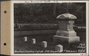 A. M. Howard, Woodlawn Cemetery, old section, lot 9, Enfield, Mass., Sept. 7, 1928