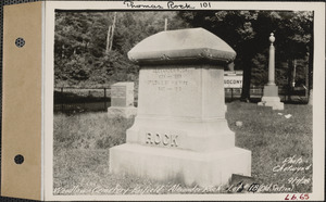 Alexander Rock, Woodlawn Cemetery, old section, lot 18, Enfield, Mass., Sept. 7, 1928