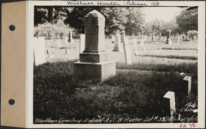 A. and C. W. Hunter, Woodlawn Cemetery, old section, lot 33, Enfield, Mass., Sept. 7, 1928