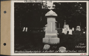 A. Bartlett, Woodlawn Cemetery, old section, lot 44, Enfield, Mass., Sept. 8, 1928