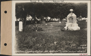 A. C. Hale, Woodlawn Cemetery, old section, lot 213, Enfield, Mass., Sept. 24, 1928