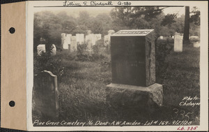 A. W. Amsden, Pine Grove Cemetery, lot 169, North Dana, Mass., Sept. 27, 1928