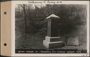 Aaron Woods Jr., Cemetery Hill Cemetery, lot 8, Enfield, Mass., Apr. 10, 1930