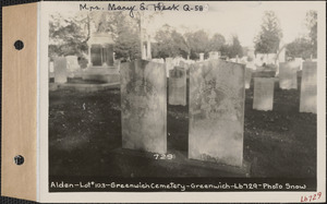 Alden, Greenwich Cemetery, Old section, lot 103, Greenwich, Mass., ca. 1930-1931