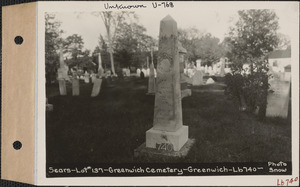 Andrew H. Sears, Greenwich Cemetery, Old section, lot 137, Greenwich, Mass., ca. 1930-1931