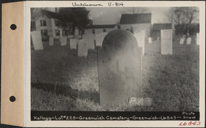 Amos Kellogg, Greenwich Cemetery, Old section, lot 225, Greenwich, Mass., ca. 1930-1931