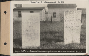 Allyn, Greenwich Cemetery, Old section, lot 270, Greenwich, Mass., ca. 1930-1931