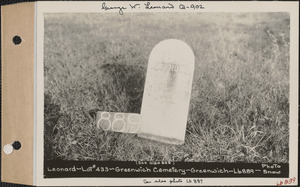 Arthur F. Leonard, Greenwich Cemetery, Old section, lot 433, Greenwich, Mass., ca. 1930-1931