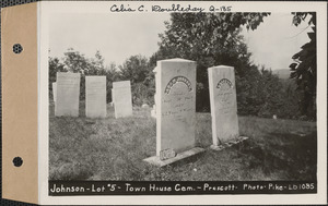 Adam Johnson, Town House Cemetery, lot 5, Prescott, Mass., ca. 1930-1931