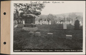 Abbott, Pelham Hollow Cemetery, lot 35, Prescott, Mass., ca. 1930-1931
