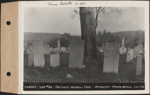 Abbott, Pelham Hollow Cemetery, lot 26, Prescott, Mass., ca. 1930-1931