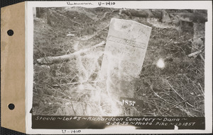 A. W. Steele, Richardson Cemetery, lot 3, Dana, Mass., Apr. 24, 1939
