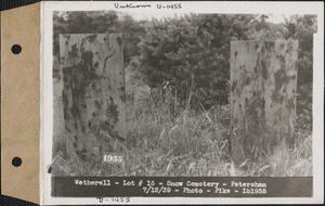 Amelia and George Wetherell, Snow Cemetery, lot 16, Petersham, Mass., July 12, 1939