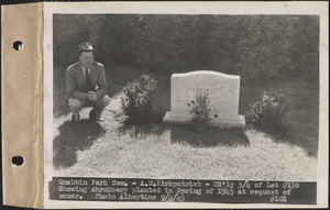 A. W. Kirkpatrick, northeasterly 3/4 of lot 130 showing shrubbery planted in spring of 1945 at request of owner, Quabbin Park Cemetery, Ware, Mass., Sept. 4, 1945