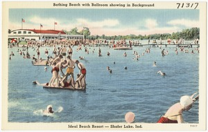 Bathing beach with ballroom showing in background, Ideal Beach Resort -- Shafer Lake, Ind.