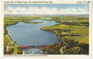 Aerial view of Shafer Lake, Ind., looking north from dam, Ideal Beach Resort on end of peninsula left center