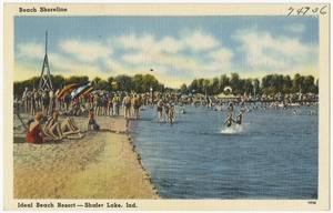 Beach shoreline, Ideal Beach Resort -- Shafer Lake, Ind.