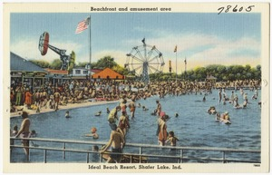 Beachfront and amusement area, Ideal Beach Resort, Shafer Lake, Ind.