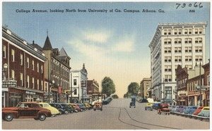 College Avenue, looking north from University at Ga. campus, Athens, Ga.