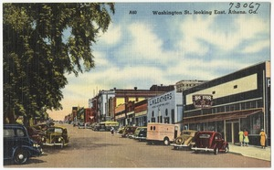 Washington St., looking east, Athens, Ga.