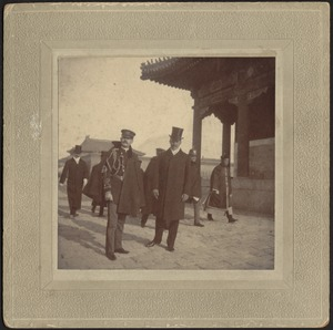 John Gardner Coolidge (front right in top hat) with military officials and dignitaries, Peking, China