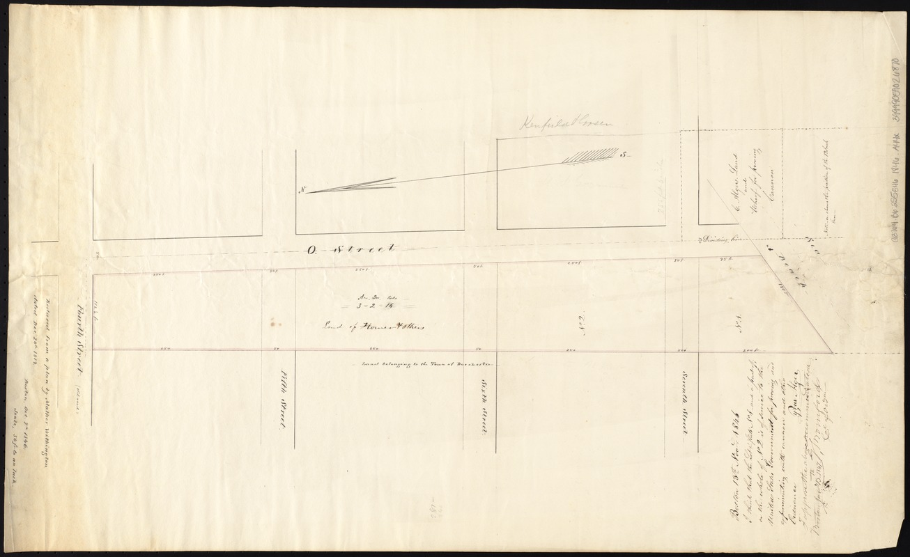 [Plan of lots on O Street, South Boston]