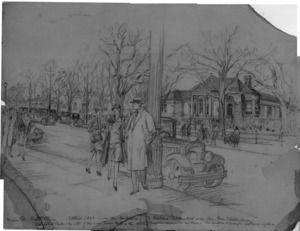 Sketch of Main Street, circa 1930's.
