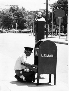 Mail carrier in Watertown Square.
