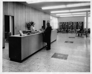 Circulation Desk at Watertown Free Public Library.