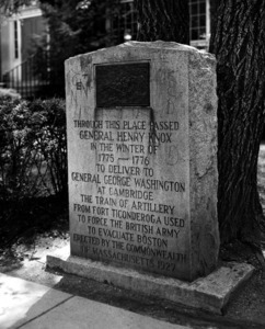 Commemorative granite monument in front of the East Branch Library, Mount Auburn Street