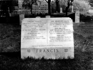 Grave marker of Reverend Convers Francis, his wife, daughter, and son.
