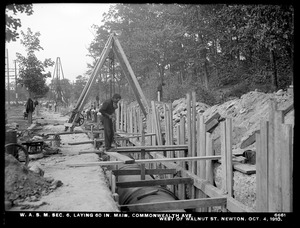 Distribution Department, Weston Aqueduct Supply Mains, Section 6, laying 60-inch main, Commonwealth Avenue, west of Walnut Street, Newton, Mass., Oct. 4, 1910