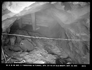 Distribution Department, Weston Aqueduct Supply Mains, Section 7, timbering in tunnel, station 24+40, at old shaft, Newton, Mass., Oct. 19, 1910
