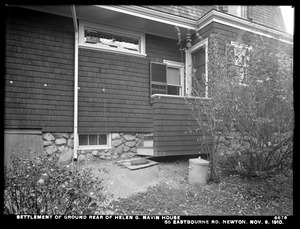 Distribution Department, Weston Aqueduct Supply Mains, settlement of ground, rear of Helen G. Navin's house, 55 Eastbourne Road, Newton, Mass., Nov. 9, 1910