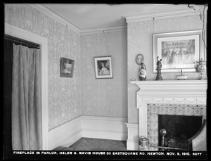 Distribution Department, Weston Aqueduct Supply Mains, fireplace in parlor, Helen G. Navin's house, 55 Eastbourne Road, Newton, Mass., Nov. 9, 1910