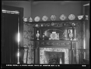Distribution Department, Weston Aqueduct Supply Mains, dining room, F. A. Ward's house, Ward Street, Newton, Mass., Nov. 9, 1910
