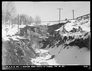 Distribution Department, Weston Aqueduct Supply Mains, Section 7, west portal of tunnel, Newton, Mass., Feb. 23, 1911