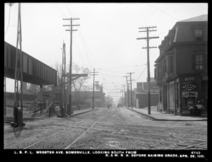Distribution Department, Low Service Pipe Lines, Webster Avenue, looking south from Boston & Maine Railroad, before raising grade, Somerville, Mass., Apr. 29, 1911