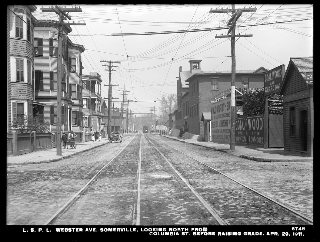Distribution Department, Low Service Pipe Lines, Webster Avenue, looking north from Columbia Street, before raising grade, Somerville, Mass., Apr. 29, 1911