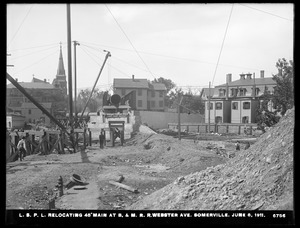 Distribution Department, Low Service Pipe Lines, relocating 48-inch main over Boston & Maine Railroad, Webster Avenue, Somerville, Mass., Jun. 8, 1911