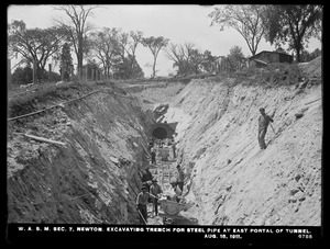 Distribution Department, Weston Aqueduct Supply Mains, Section 7, excavating trench for steel pipe at east portal of tunnel, Newton, Mass., Aug. 18, 1911