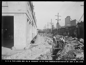 Distribution Department, Southern High Service Pipe Lines, Section 39, 24-inch pipe trench, Washington Street, West Roxbury, Mass., Oct. 9, 1911