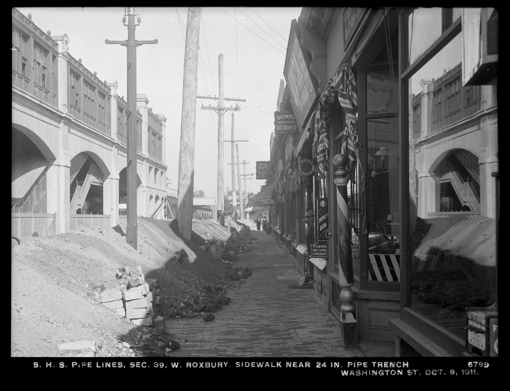 Distribution Department, Southern High Service Pipe Lines, Section 39, sidewalk near 24-inch pipe trench, Washington Street, West Roxbury, Mass., Oct. 9, 1911