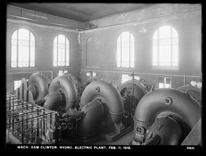 Wachusett Dam, Hydroelectric Power Plant, view of the four hydraulic turbines, Clinton, Mass., Feb. 11, 1912
