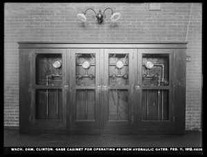 Wachusett Dam, gage cabinet for operating 48-inch hydraulic gates, Clinton, Mass., Feb. 11, 1912