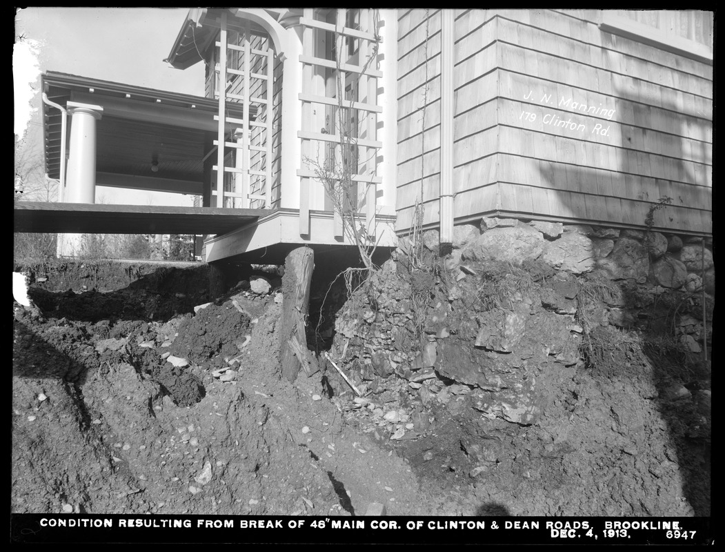 Distribution Department, break, condition resulting from break in 48-inch main, corner of Clinton and Dean Roads (foundation of J. N. Manning's house), Brookline, Mass., Dec. 4, 1913